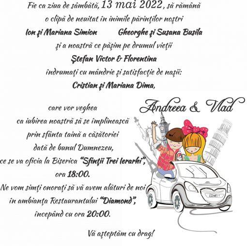 Invitatie de nunta electronica travel